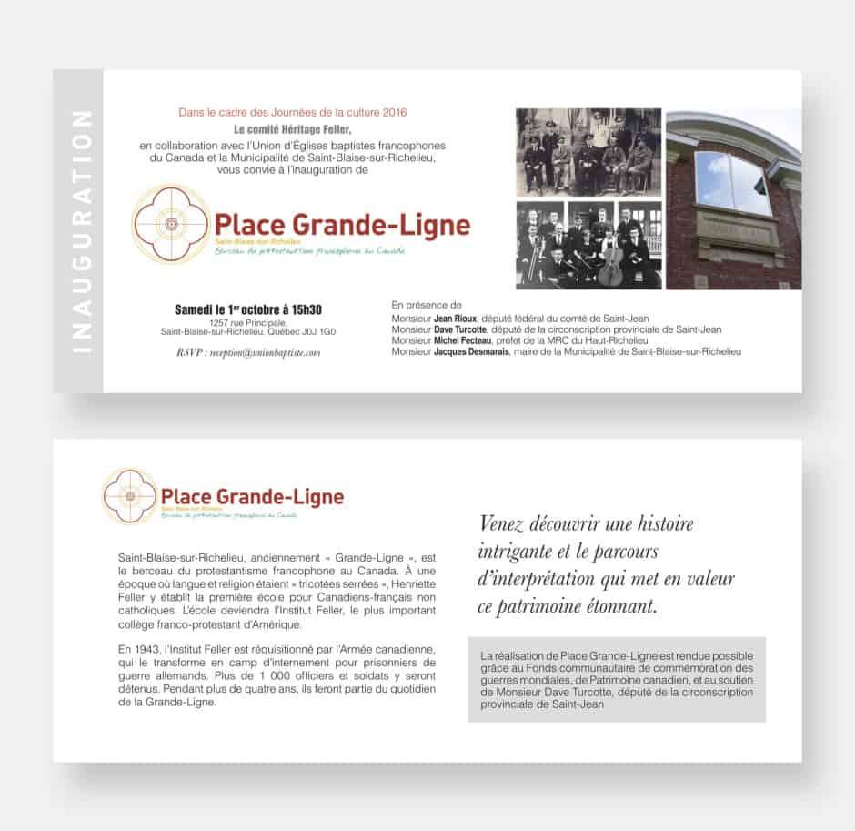 Invitation à l'inauguration de la Place Grande-Ligne